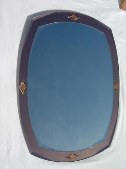 Oval Pink Glass Mirror